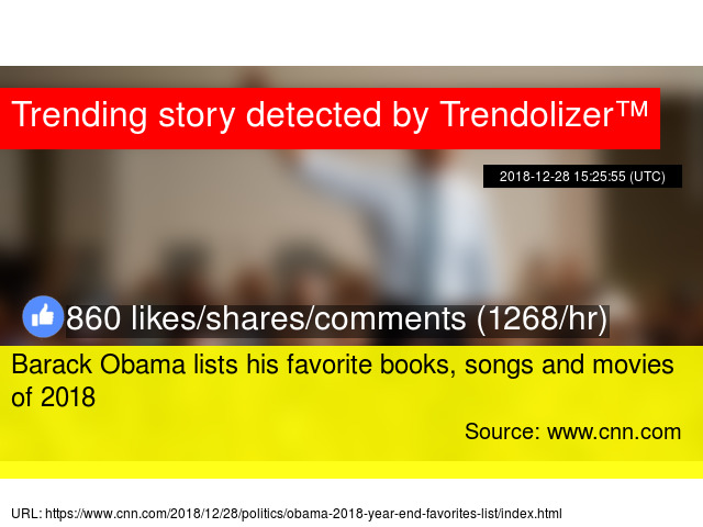 Barack Obama lists his favorite books, songs and movies of 2018